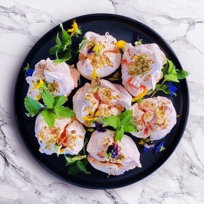 rosewater and pistachio meringue