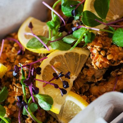 chicken in oat and herb crumb with lemon