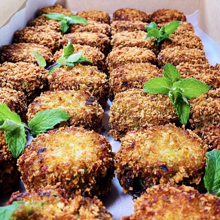 fritters with mint leaves