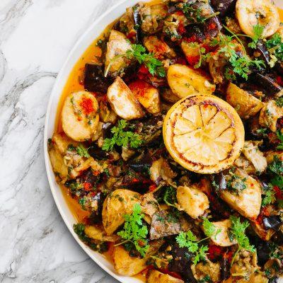 bowl of eggplant and potato salad